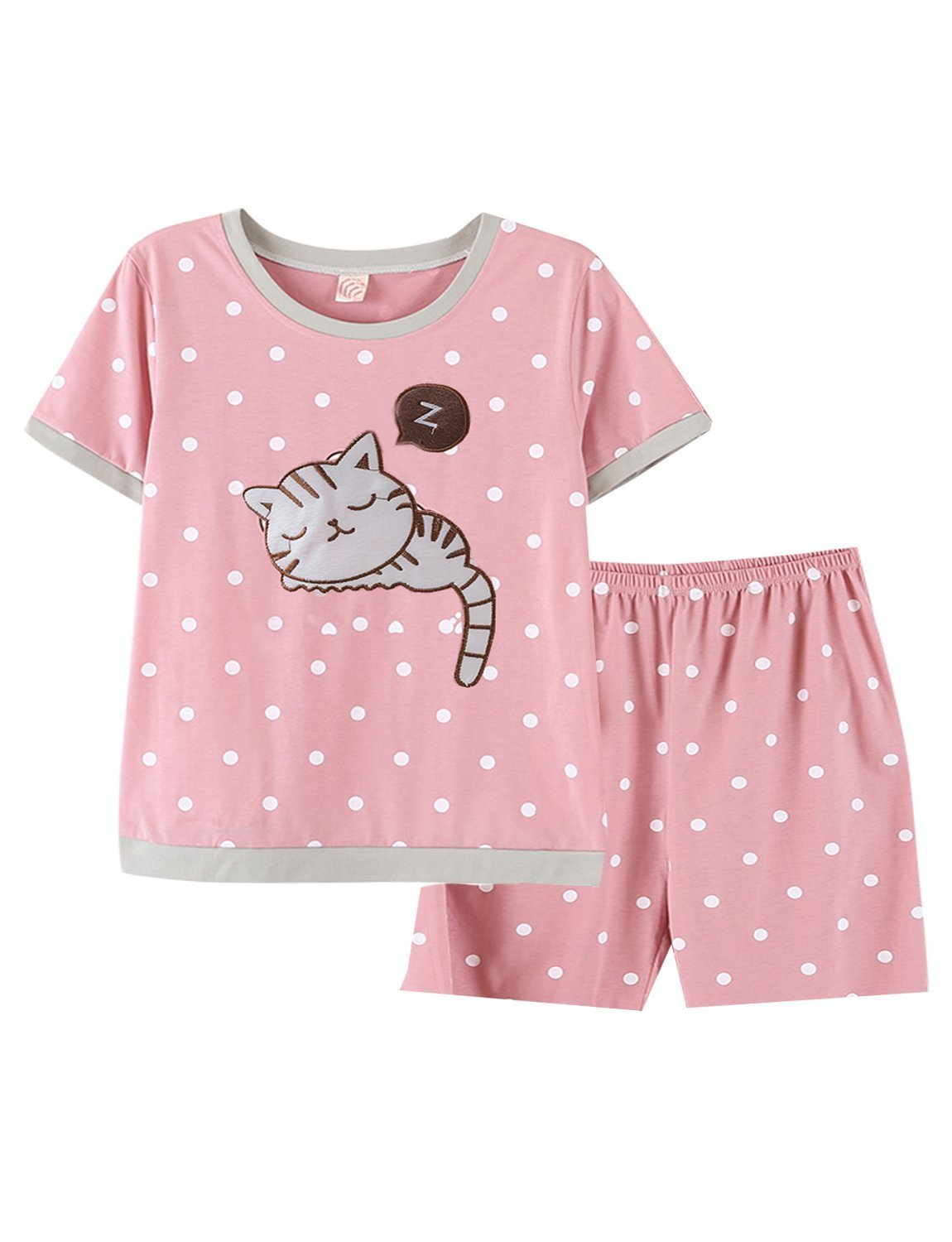 BAIYIXIN Fashion Store Summer Pink Short Pajamas Set for Young/Big Girl/Teenage Sleepwear,Pink,L(fits 8-10 Years)
