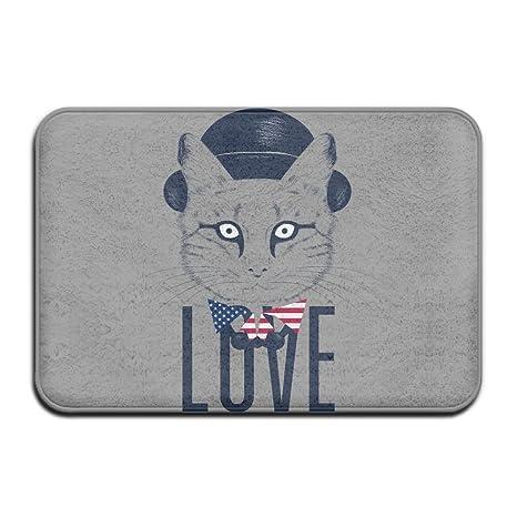 huyf743 Love día de la independencia Patriótico gato Cool Felpudo – Felpudo de entrada (Floor