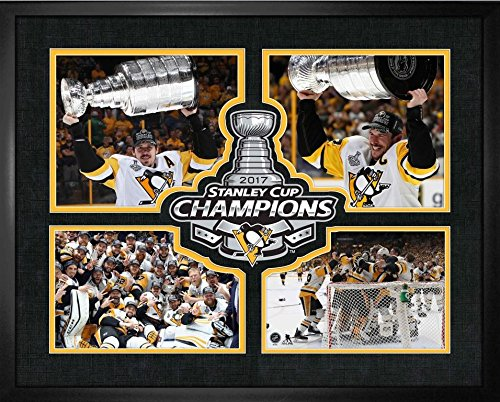 (Pittsburgh Penguins - 16x20 Frame 4-Player Logo Print 2017 Stanley Cup)