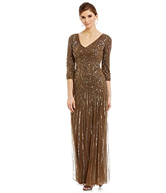 87b6c29bf91 Image Unavailable. Image not available for. Color  Pisarro Nights Womens 3 4 -Sleeve Beaded Gown ...