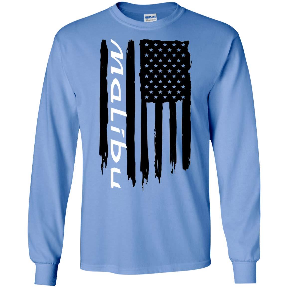 WheelSpinAddict Mens Malibu American Flag Long Sleeve T-Shirt