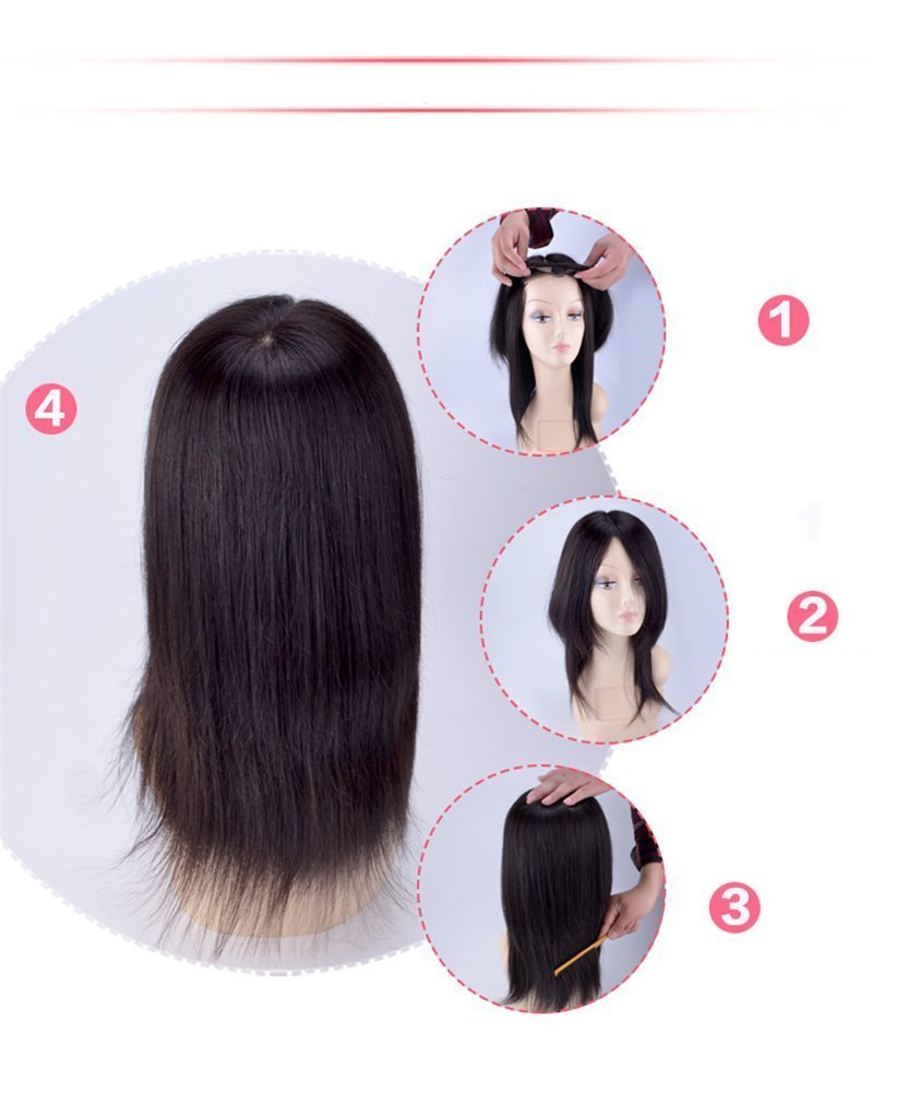 100% Remy Human hair Silk Base Human Hair Toppers for Thinning Hair Clip in Hairpiece for Women (6inch natural black) (10'', chestnut brown) by YuXian Beauty (Image #4)