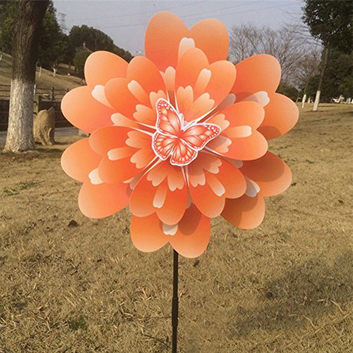 Techinal 1 Pcs 3d Wind Spinners Yard, Animals Butterfly Peony Flower Colourful Windmill Home Garden Decor (Flowers Windmill)