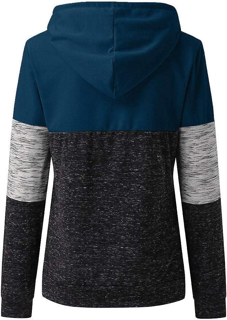 WUAI Women Active Color Block Long Sleeve Fleece Pullover