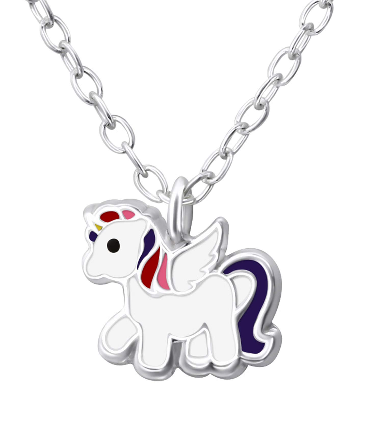 Best Wing Jewelry .925 Sterling Silver''Very Tiny Unicorn/Pony'' Children's Necklace