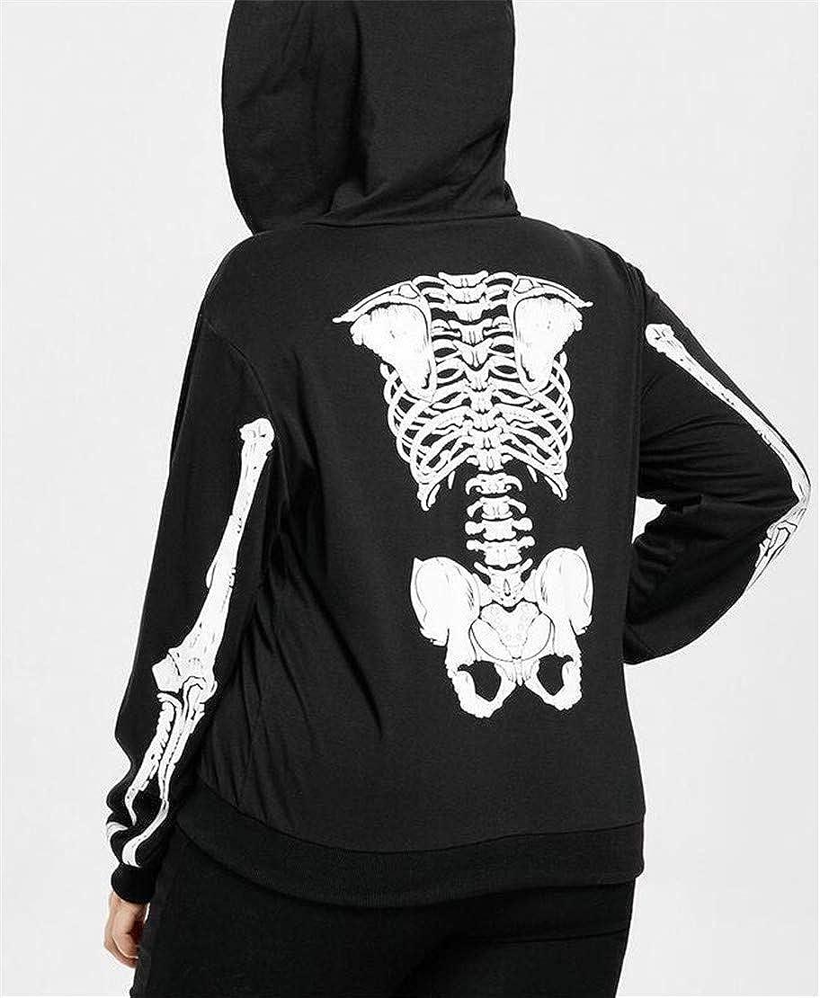Zantt Womens Fashion Halloween Hooded Zip-Up Skull Print Sweatshirt Jacket