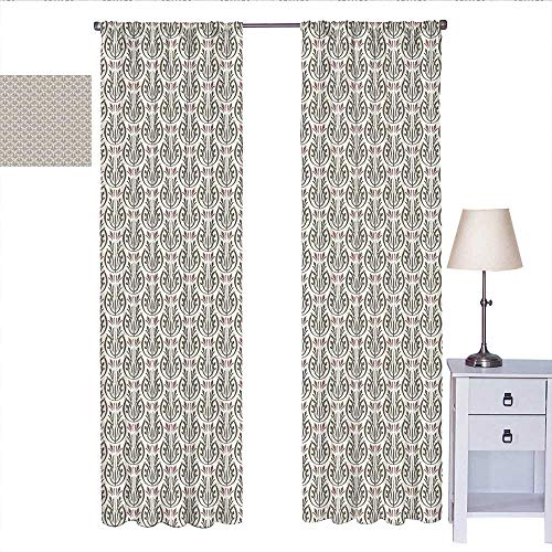 W Machine Sky Art Nouveau Kitchen Curtain Medieval Inspired Floral Curved Classic Royal Petal Design Drapes Panels Cream Dried Rose Army Green W84 x L96 Art Nouveau Bronze Door