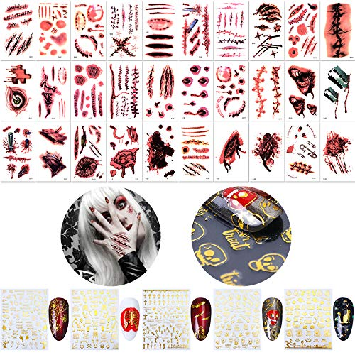 Halloween Scar Stickers Wenida 30 Sheets Waterproof Tattoo Fake Bloody Wound Stickers with 5 Sheets Self-adhesive Golden Nail Decals Stickers