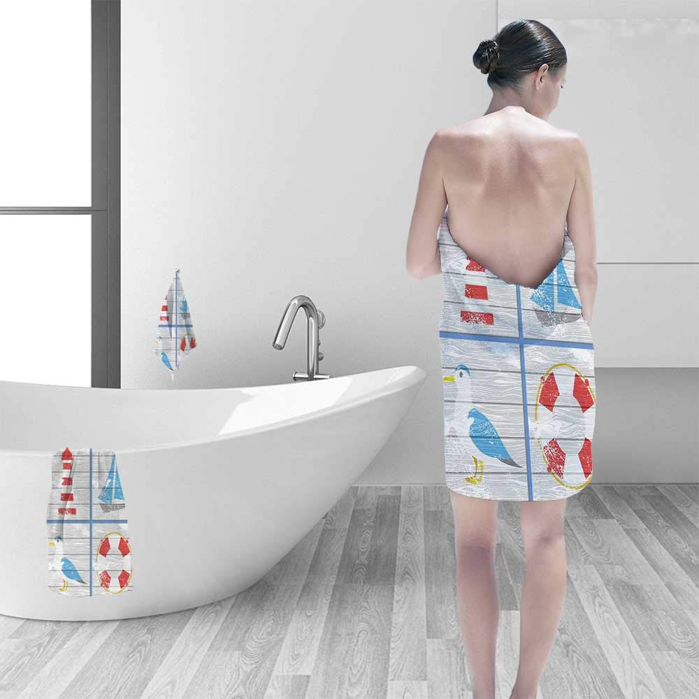 Printsonne Quick Dry Bath towelNautical Inspired Seagull Lighthouse Lifebuoy and Sailboat On Wooden Board Background Multi Absorbent Ideal for Everyday use