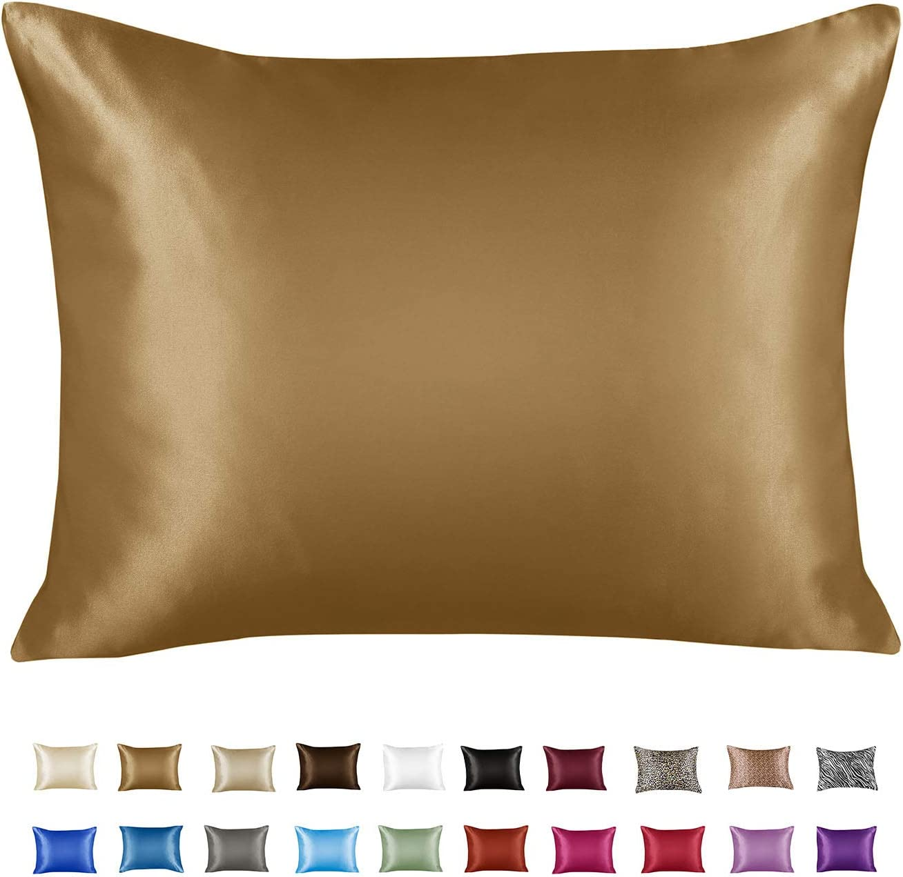 Shop Bedding Luxury Satin Pillowcase for Hair – Standard Satin Pillowcase with Zipper, Gold (1 per Pack) – Blissford