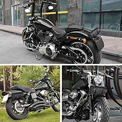 F FIERCE CYCLE Universal Motorcycle Saddlebags Luggage Waterproof Synthetic Leather Tool Bag Quick Release with Plastic Buckle Black: Automotive