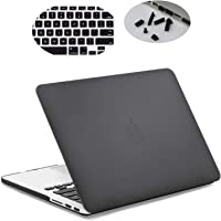 LENTION Hard Case with Keyboard Cover and Port Plugs for MacBook Pro (Retina, 13-inch, Late 2012 to Early 2015) - Model A1425 and A1502, Matte Finish Shell Case with Rubber Feet (Black)