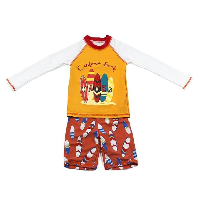 Niños Dos Piezas Traje de Baño - Bebé Bañador Manga Larga Ropa de Natación Nadar Camiseta y Pantalones Cortos