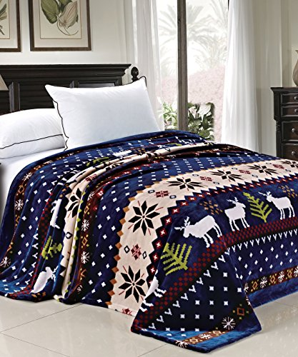 BOON Light Weight Christmas Collection Printed Flannel Fleece Blanket Blue Christmas Deer (Queen)