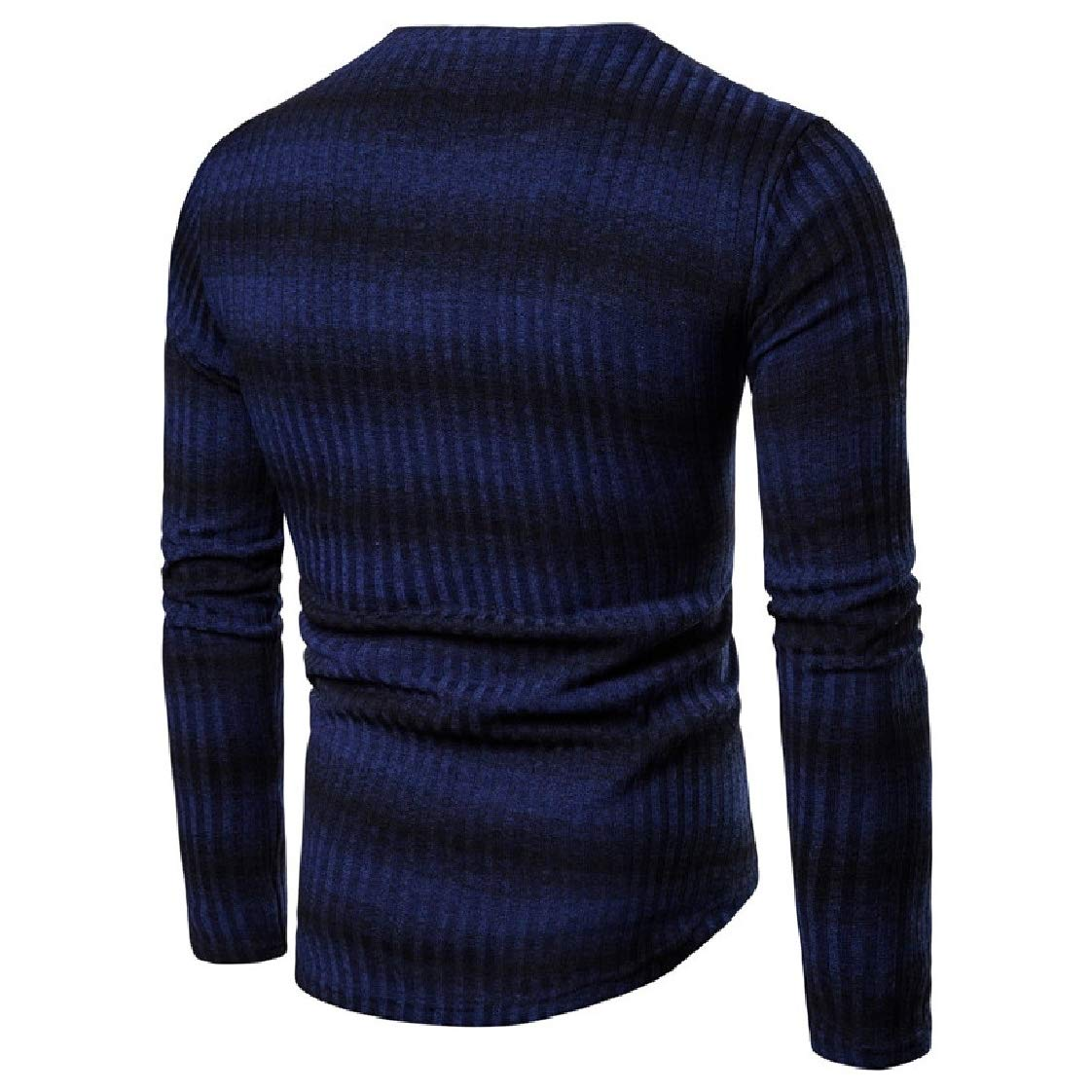 YUNY Men Stripes Pullover Silm Fit Spell Color Knitwear Crewneck Sweaters Navy Blue 2XL