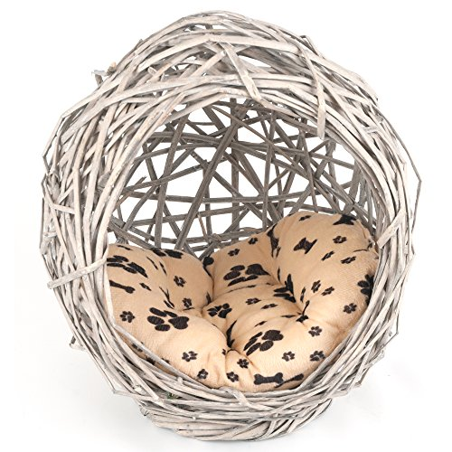Penn Plax Wicker Pet Bed, Ball with Paw Print Plush Pillow For Cats and Small Dogs ()