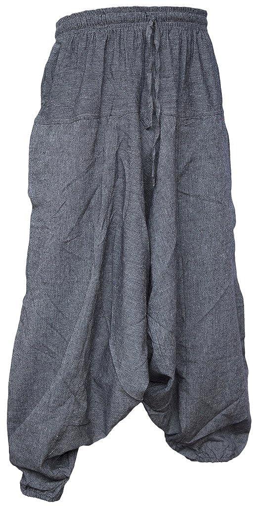 Little Kathmandu Mens Cotton Hemp Harem Aladdin Genie Wide Leg Ninja Trousers
