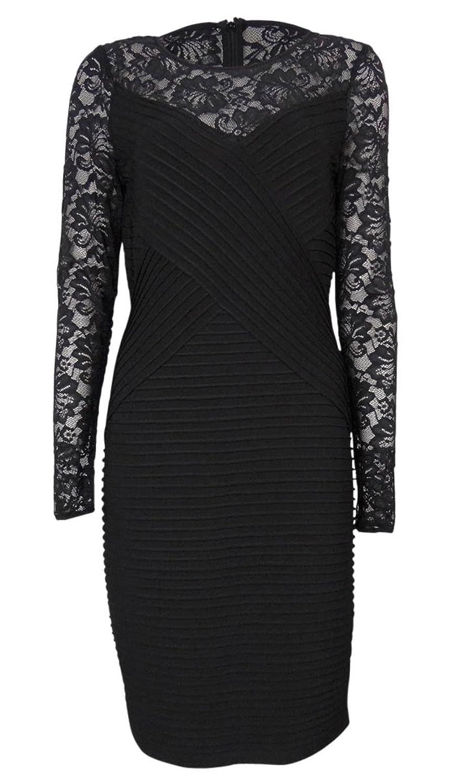 Calvin Klein Long Sleeve Illusion Lace Cocktail Dress Black