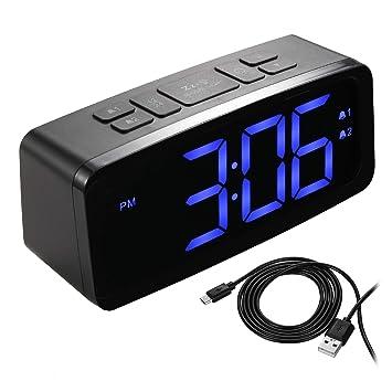 COMLIFE Reloj Despertador Digital, LED Reloj Despertador con 6 Brillo Ajustable Dual Alarma Dos Volumen Pantalla LED de 6.3 Pulgadas Función Snooze para ...