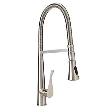 AmazonBasics Pro-Style Flexible Sprayer Kitchen Faucet, Satin Nickel