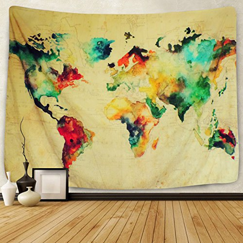 Sunlightfree Retro Watercolor World Map Tapestry Colorful Map Tapestry Wall Hanging Bedroom Living Room Dorm Home Decor (Large/82.7