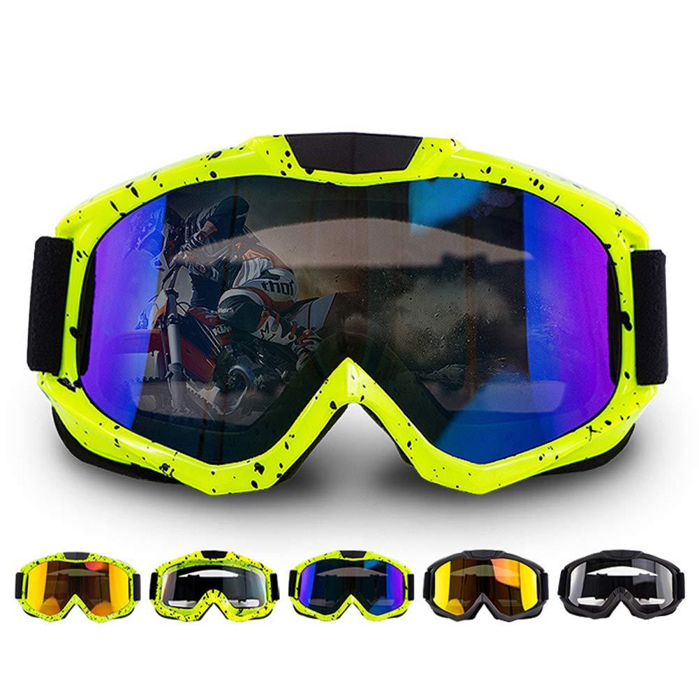 Mingshuai Gafas de Moto Clases de Gafas de Motocross Gafas de Ciclismo Gafas Off Road Racing Gafas Gafas de Sol Deportivas para Exteriores Lente Dorada con Marco Negro