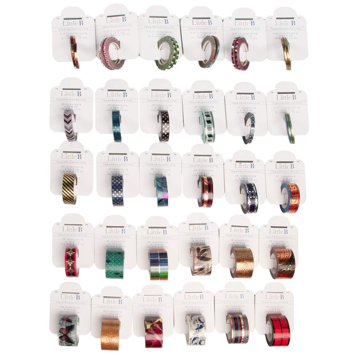 Little B (30 Rolls Assorted Thick & Thin Washi Tape Set Bulk Decorative Colored Masking Tape DIY Crafts
