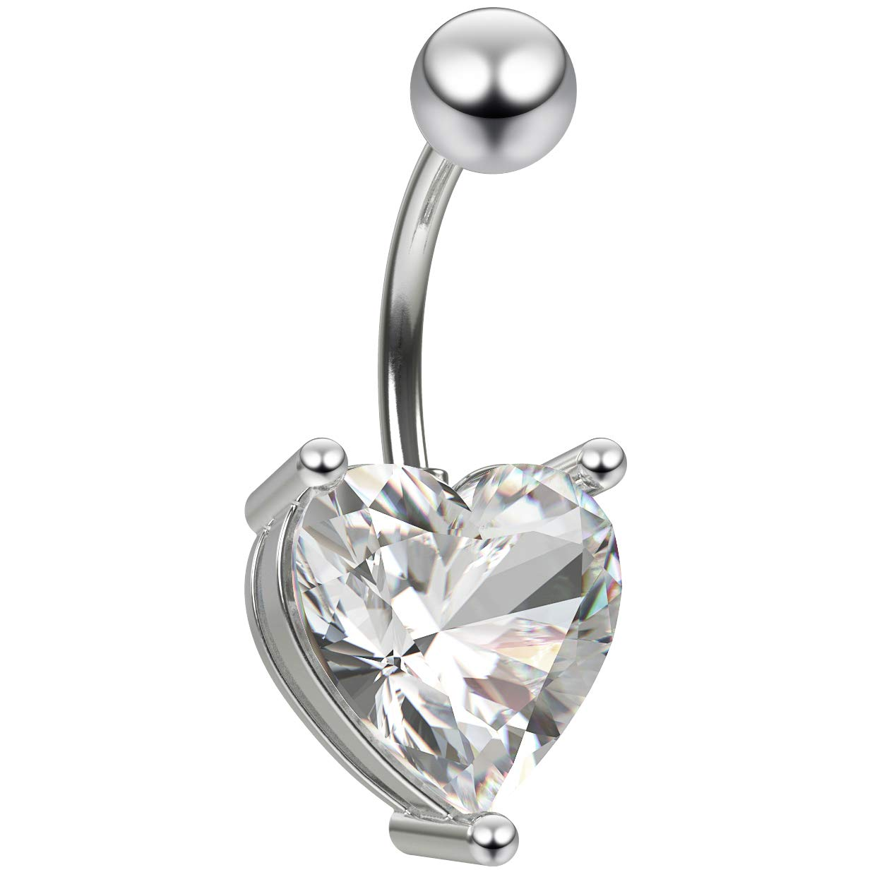 Bling Piercing 14g Belly Button Crystal Cubic Zirconia Swarovski Cz Gauge Heart Jewel Ring Set 10mm Stainless Steel