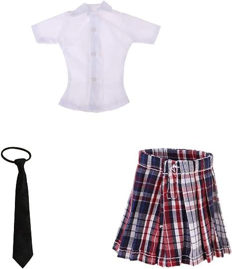 Amazon.es: Sharplace Mini Falda a Cuadros de 1/6 Niñas + Camisa ...