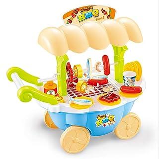 Educazione creativa giocattoli per bambini Fai finta di giocare cibo barbecue hot dog pesce carrello carrello set giocattolo con musica e illuminazione per bambini e ragazze finta di giocare giocattol