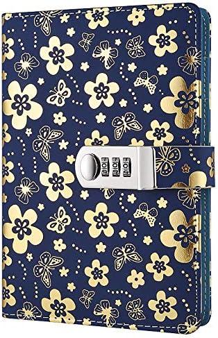Schreibbuch-Passwort-Sperren-Tagebuch kreatives Passwort Tagebuch Handbuch Notepad lock Tagebuch tpn102 (silberne Blume), Farbe