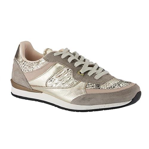 Mustang - Zapatillas de Piel para mujer Beige Beige (Beige/Gold 403), color Beige, talla 45: Amazon.es: Zapatos y complementos