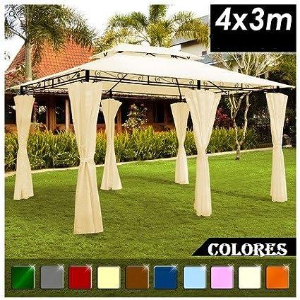 SG - Carpa cenador 4x3 luxe. Pabellón pergola jardín. Varios colores (amarillo): Amazon.es: Jardín