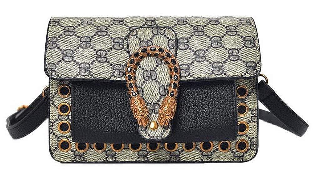 Black WeiPoot Women's Shopping Bags Ornamented Pu Crossbody Bags,EGHBG182480