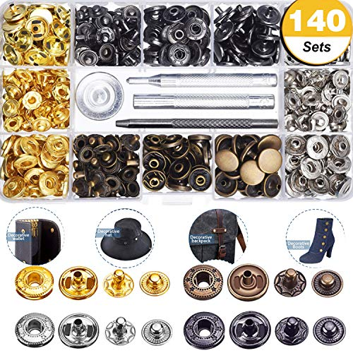 140 Sets Snap Fasteners Kit for Leather/Clothing, 12.5mm Metal Clothing Snaps Kit for Leather, Jacket, Jeans Wear, Bracelet, Bags