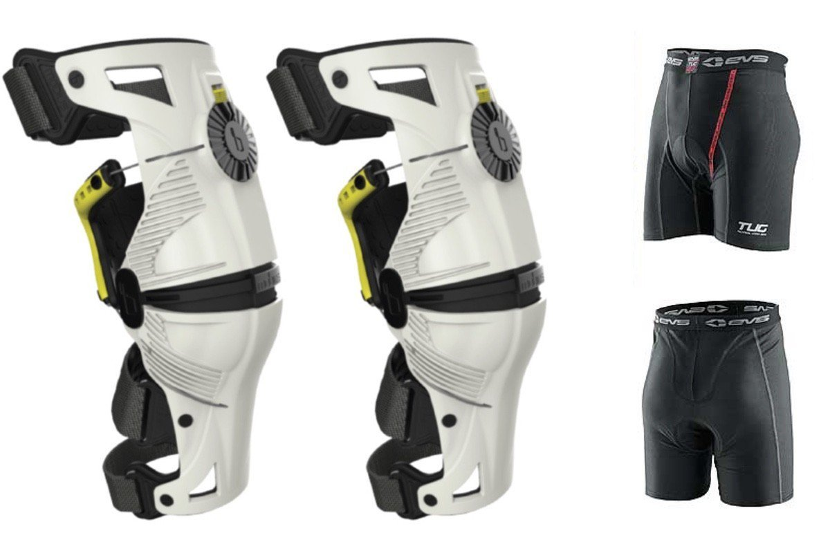 Mobius X8 Knee Braces XS White / Acid Yellow PAIR Dirt Bike MX ATV Free EVS
