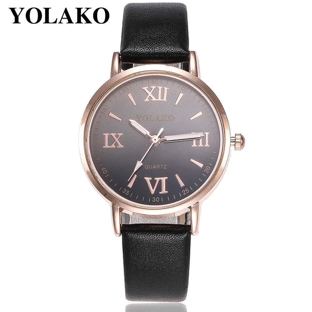 Bestow YOLAKO Reloj de Pulsera de Cuarzo Analš®gico Reloj de Pulsera de Cuero de Las Mujeres Casual: Amazon.es: Ropa y accesorios