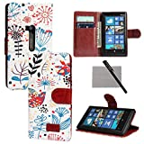 xhorizon TM New Floral Leaf Style Wallet Folio Flip Magnetic Closure Stand Leather Case Cover with Credit Card Slot Holder for Nokia Lumia 920 with xhorizon stylus and cleaning cloth ZA5
