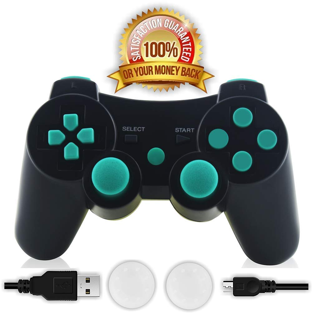 CFORWARD PS3 Controller Lake Blue Wireless Bluetooth Gamepad ...
