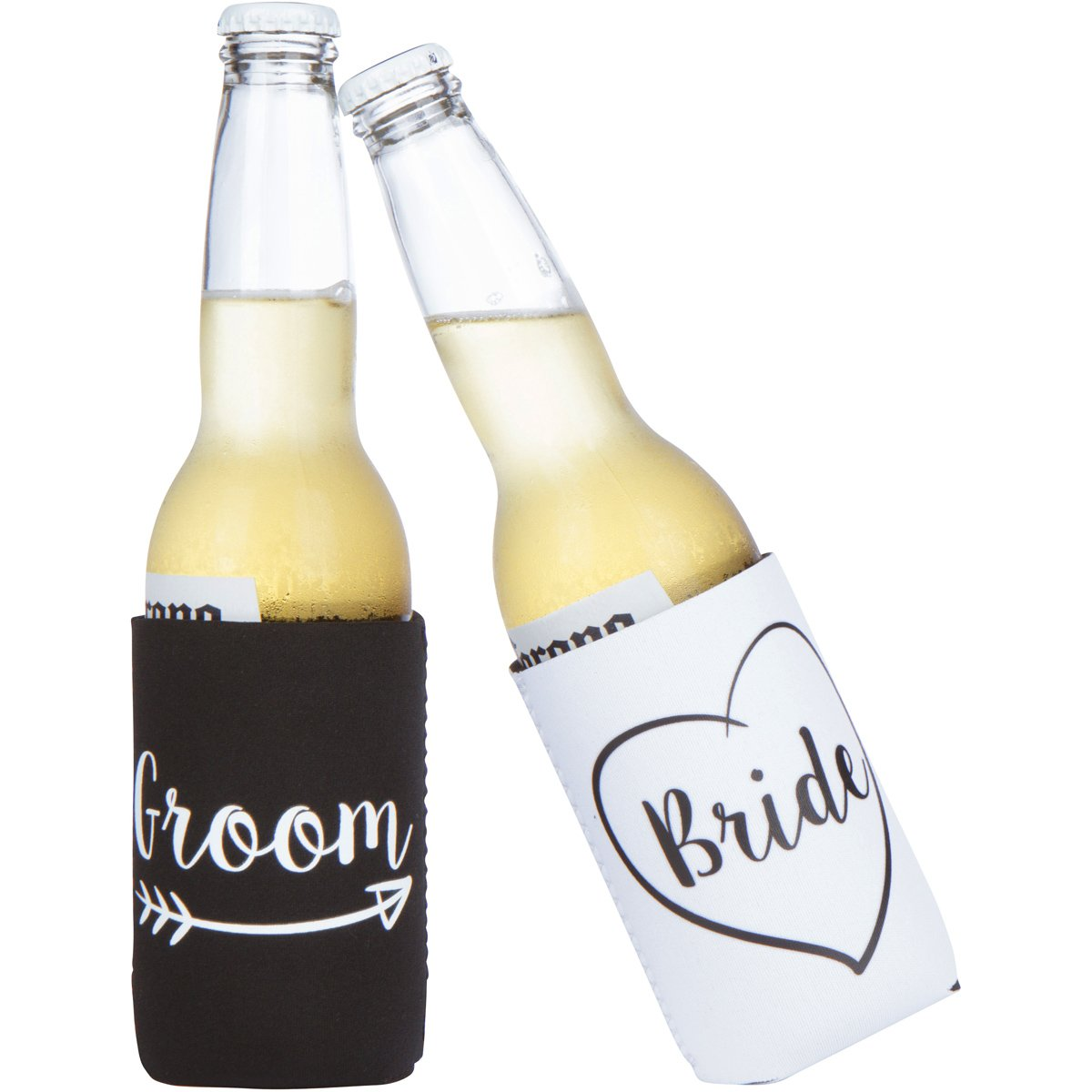 Cute Wedding Gifts - Bride and Groom Novelty Can Cooler Combo - Engagement Gift for Couples by The Plympton Company (Image #4)