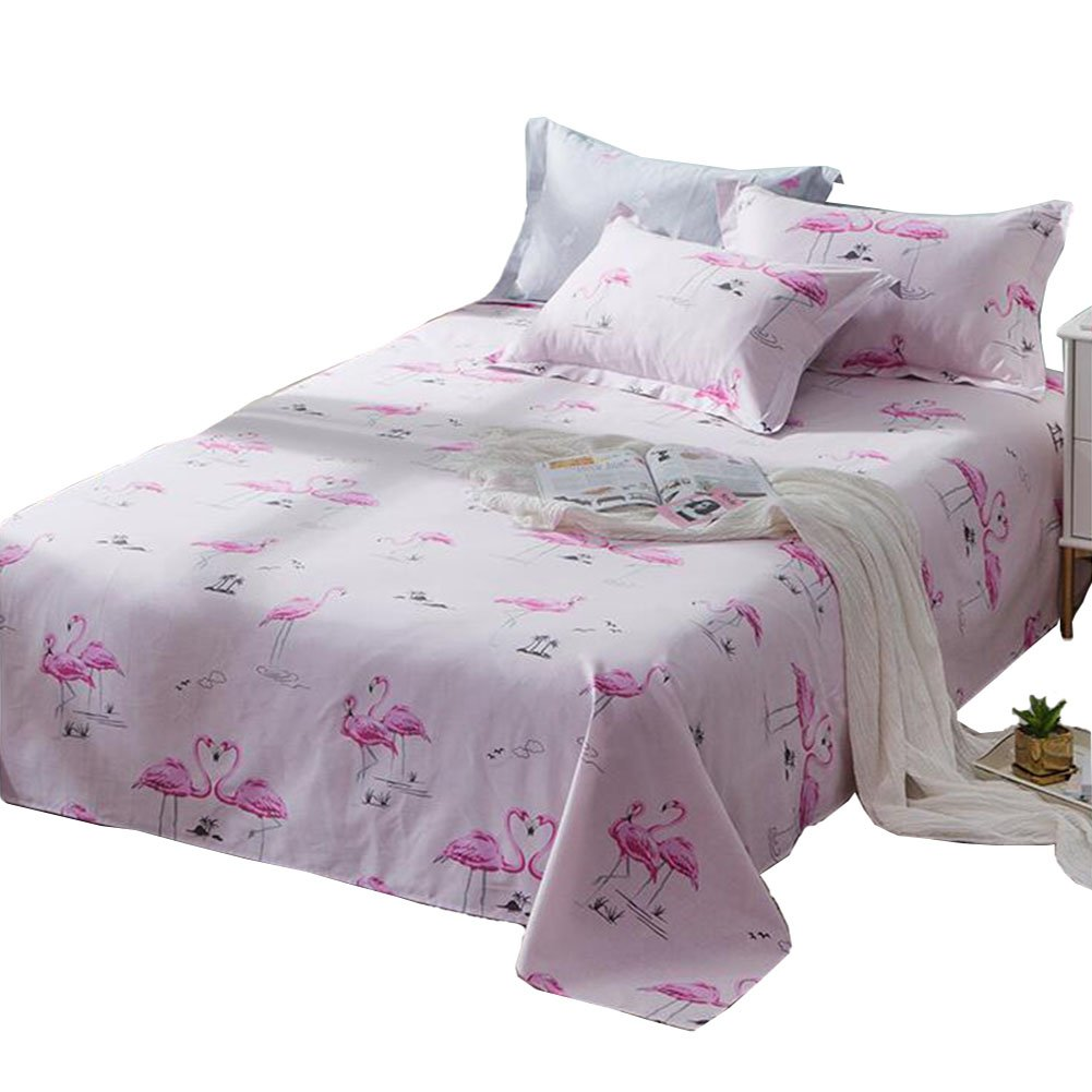[100% Cotton] Pink Two Animals Printed Cute Breathable Cool 1PC Twin Flat Sheet