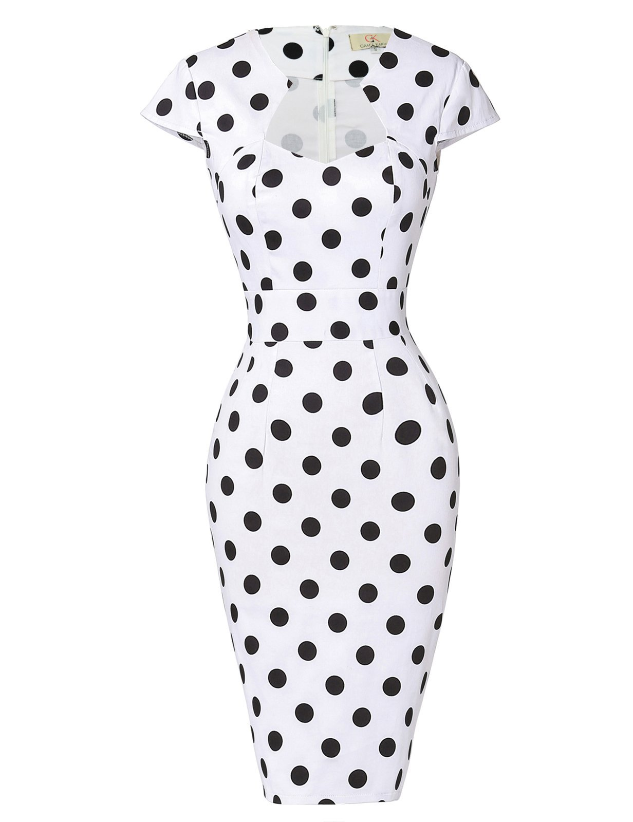 Polka Dots Vintage Ball Prom Dress Cap Sleeve White S CL7597-1