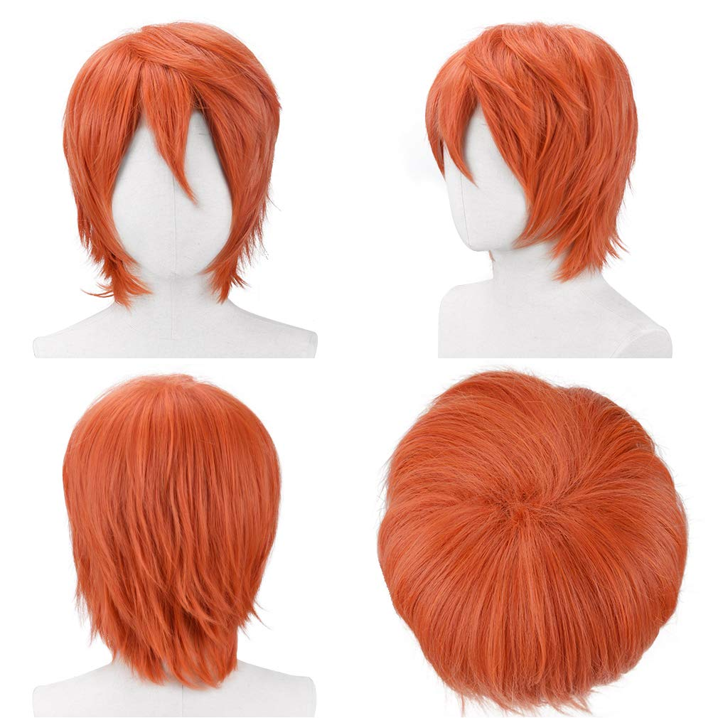 YOGFIT Aaron Mens Short Straight Black Wigs for Anime Spiky Cosplay Halloween Costume Party
