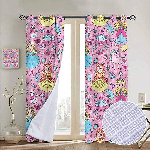 """NUOMANAN Curtains Princess,Cartoon Kids Characters,Treatments Thermal Insulated Light Blocking Drapes Back for Bedroom 54""""x84"""""""