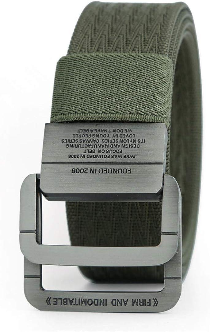 JUIHUGN Military Equipment Tactical Belt Man Double Ring Buckle Thicken Canvas Belts for Men Waistb Green 150cm