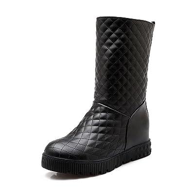 VogueZone009 Damen Ziehen auf Mittler Absatz PU Leder Gemischte Farbe Mitte-Spitze Stiefel, Schwarz, 41