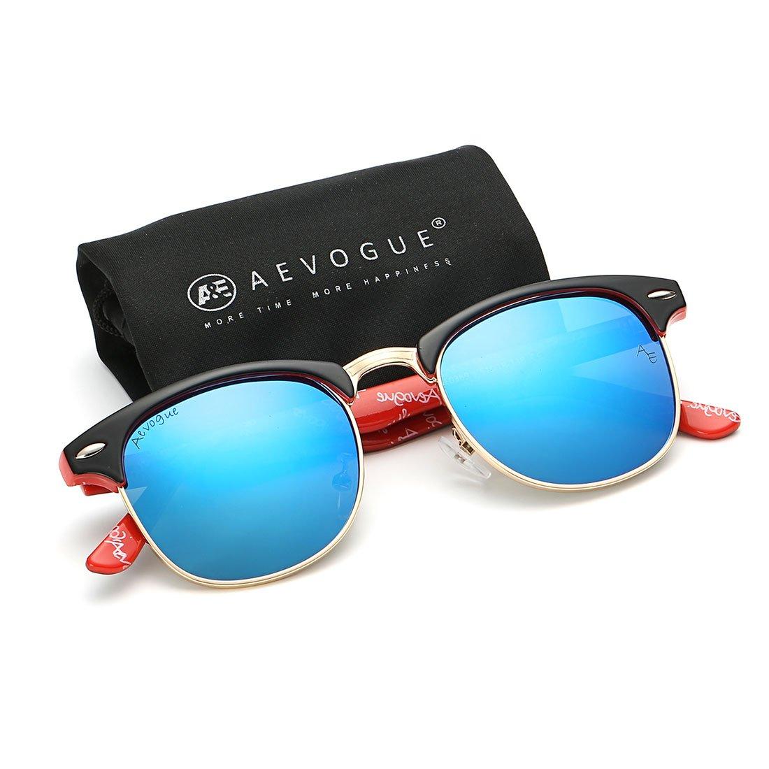 AEVOGUE Polarized Sunglasses Semi-Rimless Frame Brand Designer Classic AE0369 (Black&red&blue, 48)