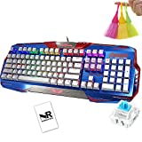 Normia Rita Tean Captain Metal Base RGB Backlit Wired Mechanical 104 non-conflict Keys Ergonomic Design Cherry MX Green Gaming Keyboard - Blue
