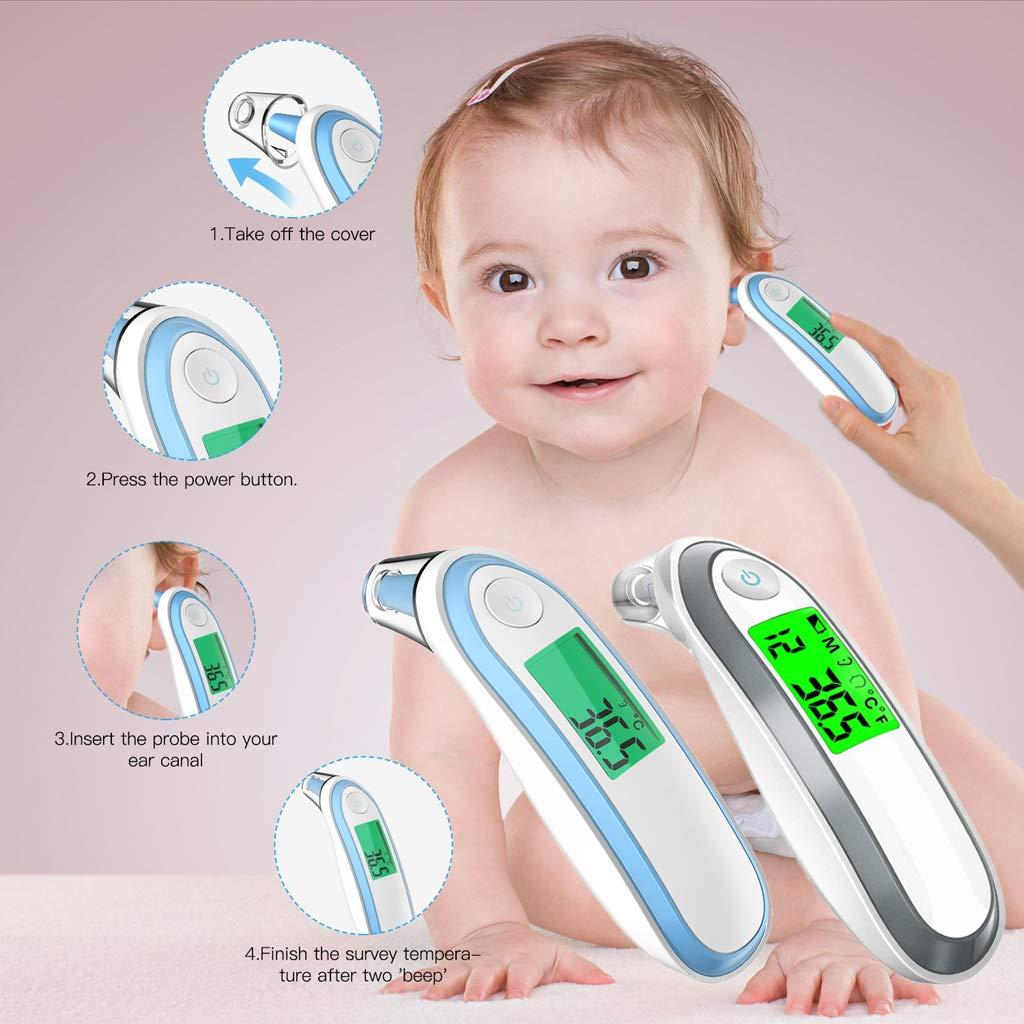 Luluspace Fieberthermometer f/ür Babys und Erwachsene Stirnthermometer Ohrthermometer Medizinischer Infrarot Digital Thermometer Blau
