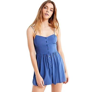 965d04268d66 Women Mini Spaghetti Strap Sling Button Down Sleeveless Backless Romper